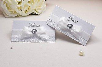 Papiernictvo - Svadobné menovky Damask s kamienkom - 6585040_