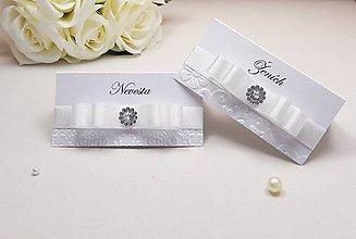 Papiernictvo - Svadobné menovky so stuhou a kamienkom - 6585303_