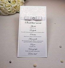 Papiernictvo - Svadobné menu so stuhou a kamienkom - 6585324_