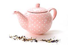 Nádoby - Ružový čajník s bodkami - 6586978_