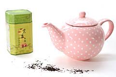 Nádoby - Ružový čajník s bodkami - 6587009_