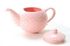 Nádoby - Ružový čajník s bodkami - 6587010_