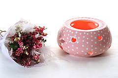 Nádoby - Ružový bodkaty zohrievací podstavec na čajníček - 6587084_