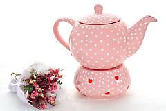 Nádoby - Ružový bodkaty zohrievací podstavec na čajníček - 6587085_