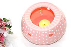 Nádoby - Ružový bodkaty zohrievací podstavec na čajníček - 6587086_