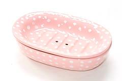 Nádoby - Roztomilá ružová mydelnička s bodkami - 6587210_