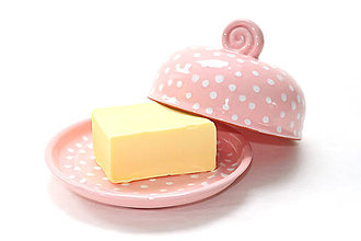 Nádoby - Ružová maselnička s bodkami - 6587120_