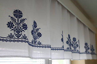 Úžitkový textil - Záclonka vyšívaná Modrý svet - 6585027_