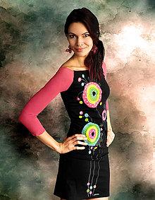 Šaty - Dvojfarebné šaty s maľbou - Puntíkaté ružové - 6585635_