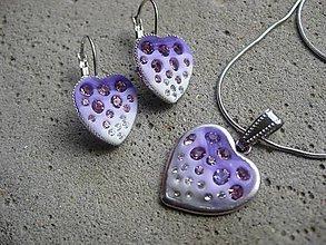 Sady šperkov - Fialové srdiečka so sklenenými kamienkami - sada - 6586573_