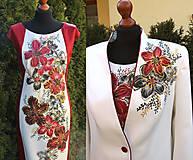 Šaty - Maľované šaty a sako... - 6585343_