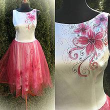 Šaty - Ručne maľované šaty s tylovou sukňou... - 6586467_
