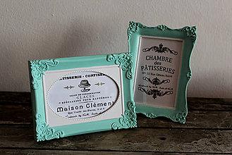 Rámiky - Dva mentolkové  vintage rámčeky - 6586483_
