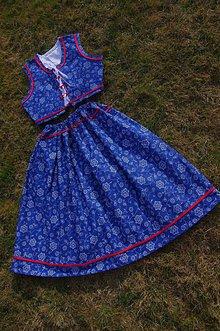 Sukne - Súprava z modrotlače - 6586840_