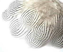Suroviny - 20- Čierno-biele pierka, jemné, malá/ veľká slzička- mix 10 ks - 6590455_