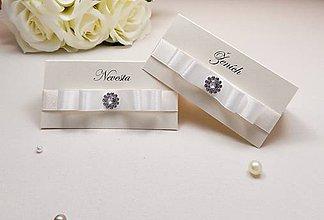Papiernictvo - Svadobné menovky White gold - 6591187_