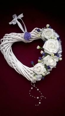 Dekorácie - Svadobné srdce na dvere fialové - 6590935_
