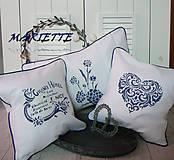 Úžitkový textil - Lněný polštářek v modro-bílé ...sada 3ks - 6591415_