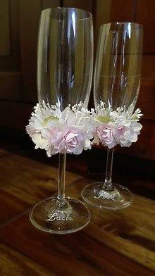 Nádoby - Svadobné poháre v smotanovo ružovej - 6591064_