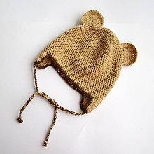 Detské čiapky - Háčkovaná čiapka s uškami - macko Uško - 6593077_