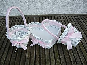 Dekorácie - Svadobné košíčky - menšie sady (ružová) - 6594858_