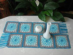 """Úžitkový textil - háčkovaný obrus """" modrá laguna"""" - 6593936_"""