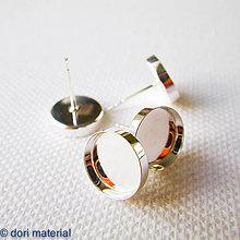 Komponenty - strieborné napichovacie okrúhle lôžka Ag 925; 10 mm; pár - 6594565_