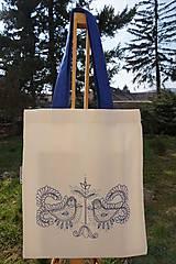 Nákupné tašky - Claudianum: Vyšívaná nákupná taška Folklór modrá - 6597097_