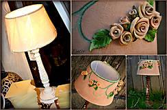 Svietidlá a sviečky - Ružová záhrada - stolová lampa - 6596121_