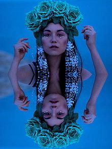 Ozdoby do vlasov - Magická čelenka z tyrkysových ruží - 6594263_