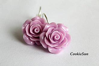 Náušnice - Keď Rozkvitne Ruža... Lavender - 6595816_