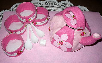 Hračky - Jedlo z filcu - čajová súprava ružová - 6596299_