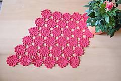 Úžitkový textil - Háčkovaná, červená dečka - 6594983_