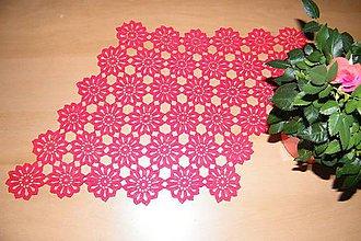 Úžitkový textil - Háčkovaná, červená dečka - 6594986_