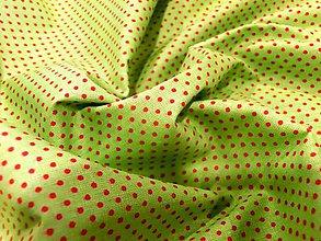 Textil - Bavlna bodky zelená -  cena za 10 cm - 6600048_