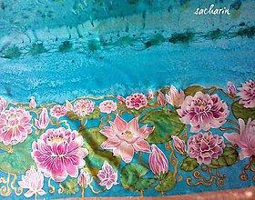 Textil - Hodvábny maľovaný pás na sukňu Lekná - 6598945_