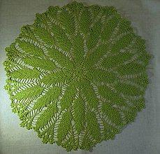Úžitkový textil - Listy a lístočky II. - limetkový háčkovaný obrus - 6600133_