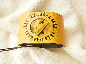 Náramky - Náramok kožený, čudné slnko - 6597905_