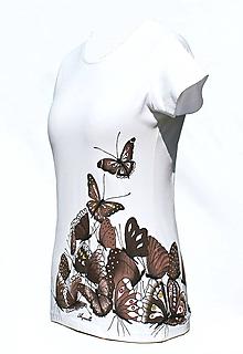 Tričká - Tričko s hnedými motýlikmi - Žúr motýľov - 6601033_