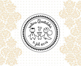 Drobnosti - Svadobná pečiatka pre rodinku s dievčatkom 42 mm - 6601523_