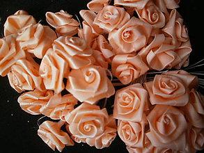 Galantéria - Taftové ružičky - lososovej farby - 6601303_