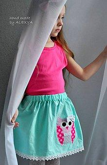 Detské oblečenie - suknička sovička mint, 110, dĺžka 30 cm - 6602835_