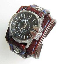 Náramky - Hnedý kožený remienok s hodinkami Gino Rossi, čierny ciferník - 6601264_
