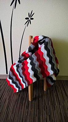 """Textil - Deka """"Červené vlnky v čiernobielom svete"""" - 6602007_"""