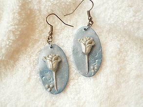 Náušnice - Náučnice z polyméru, ruža strieborná - 6601784_