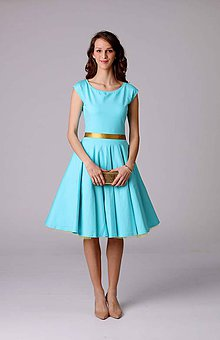Šaty - Šaty s kruhovou sukňou tyrkysové - 6607309_