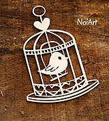 - Výrez z papiera Vtáčik v klietke - 6607375_