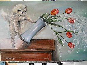 Obrazy - mačiatko a tulipány - 6606549_