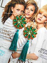 Náušnice - Smaragdové strapčeky - 6607263_