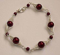 Náramky - Vínovo-červený náramok - 6605411_
